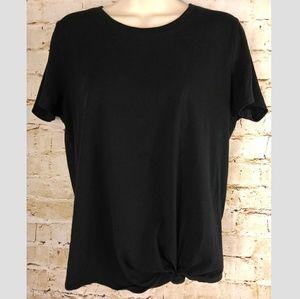 Madewell Sz M Tie Front Tee T Shirt Black Knot